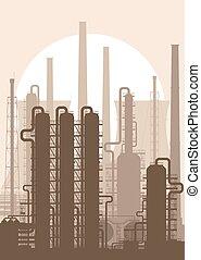 refinaria, planta, óleo, silhouette., químico, ou