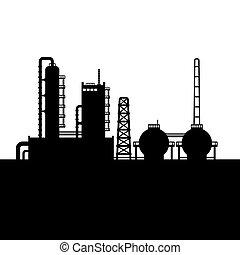refinaria, planta, óleo, silueta, fábrica, químico, vetorial, 1.