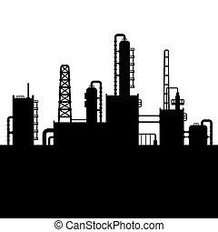refinaria, planta, óleo, silueta, fábrica, químico, vetorial, 5.