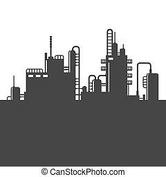 refinaria, planta, óleo, vetorial, silhouette.