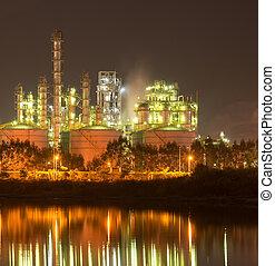 refinaria, planta industrial, com, indústria, caldeira, à noite