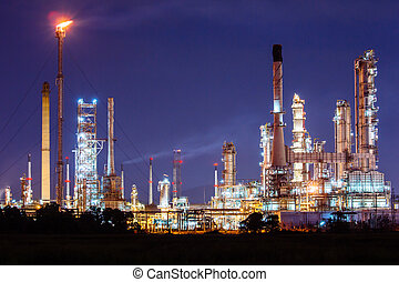 refinaria, planta,  Petrochemical, óleo, noturna