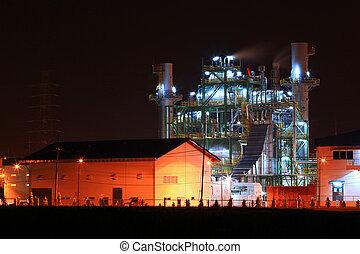 refinaria, planta, petrochemical, óleo