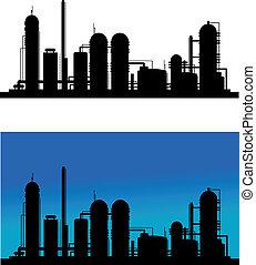 refinaria química, planta, ou