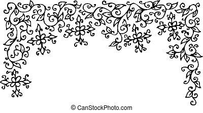 Refined Floral vignette. Eau-forte decorative vector illustration.