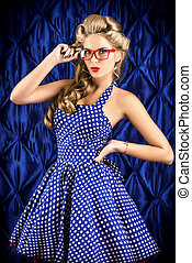refined - Gorgeous pin-up woman with retro hairstyle and ...