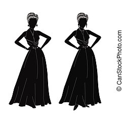 refined ladies in silhouette dressed in gowns and jewelry for new years eve party