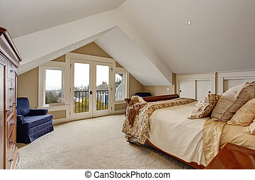 refined master bedroom with carpet and balcony.