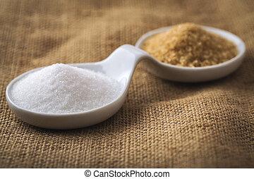 refined sugar and cane sugar - refined white sugar and brown...