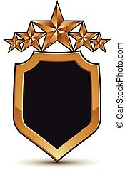 Refined vector emblem with five golden stars, 3d festive design shield element, clear EPS 8.