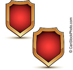 Refined vector red shield shape emblems with golden borders, 3d polygonal design elements, clear EPS 8.