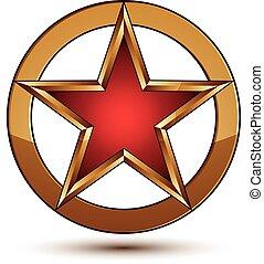 Refined vector red star emblem with golden borders, 3d pentagonal design element, clear EPS 8. 3d golden ring, polished glossy signet.