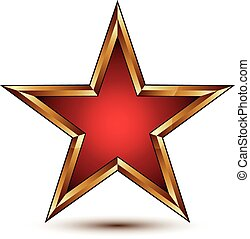 Refined vector red star with golden outline, festive 3d ...