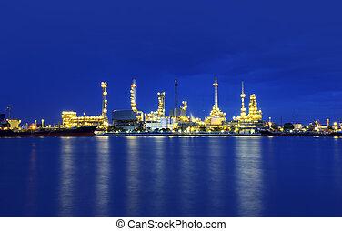 refinería, aceite, chao, río, tailandia, crepúsculo, phraya