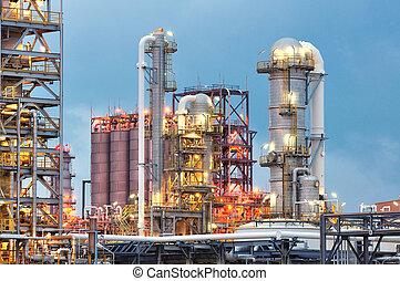 refinería, aceite, crepúsculo