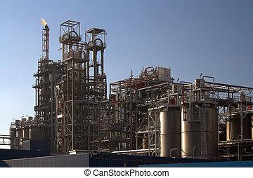 refinería, aceite, día soleado