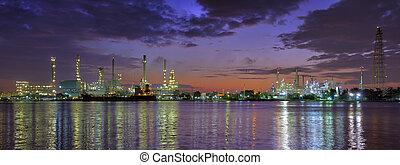 refinería, aceite, fábrica