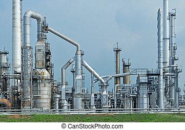 refinería, aceite, fábrica, mañana