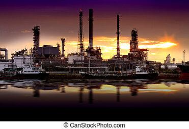 refinería, aceite, fábrica, paisaje, río