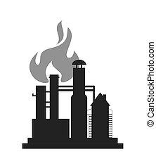 refinería, aceite, icono