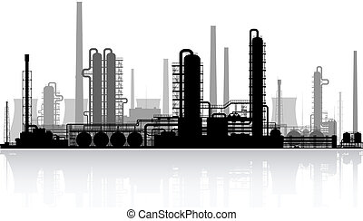 refinería, aceite, illustration., vector, silhouette.