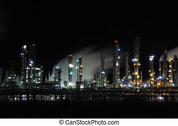 refinería, aceite, iluminado, noche