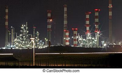 refinería, aceite, noche