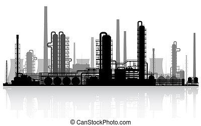 refinería, aceite, silhouette.