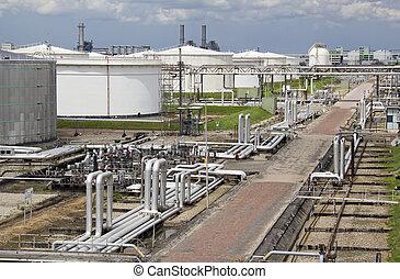 refinería, aceite, silos