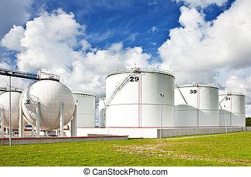 refinería, aceite, tanques