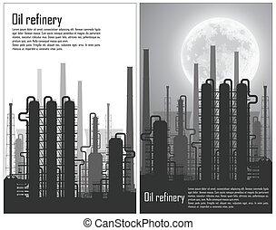 refinería, conjunto, gas, aceite, aviadores