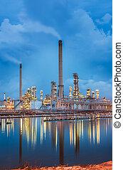 refinería, crepúsculo, aceite, cielo
