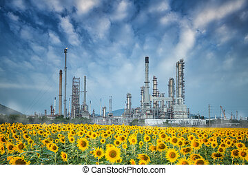 refinería, crepúsculo, por, aceite, cielo