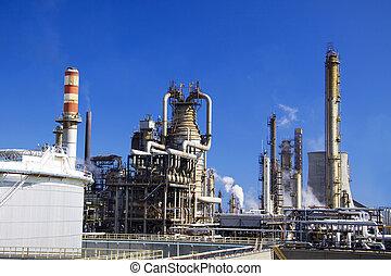 refinería de petróleo, en, italia