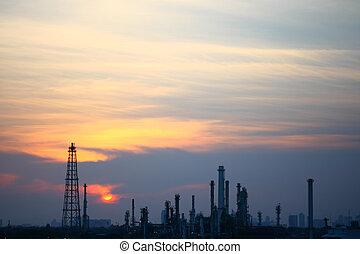 refinería de petróleo, en, ocaso