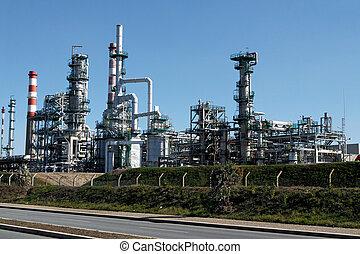 refinería de petróleo, y, powerplant