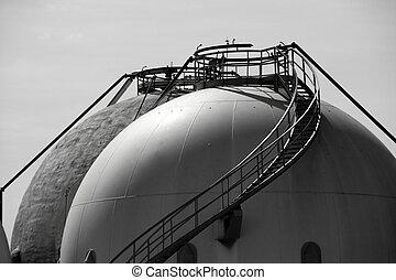 refinería del gas, almacenamiento, cisterna, al aire libre