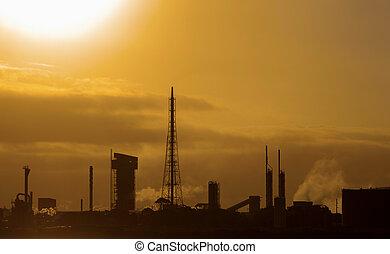 refinería, en, ocaso
