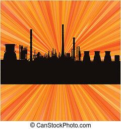 refinería, estación, vector, plano de fondo, aceite