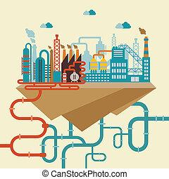 refinería, fábrica, ilustración, o