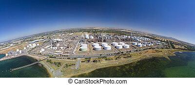 refinería, foto, aceite, aéreo