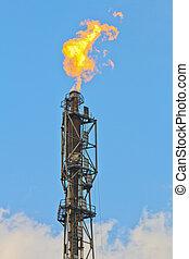 refinería, fuego, antorcha, gas