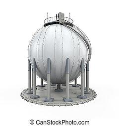refinería, gas, almacenamiento
