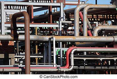 refinería, industria, producto petroquímico, tubos