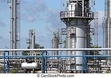 refinería, industria, tuberías, zona