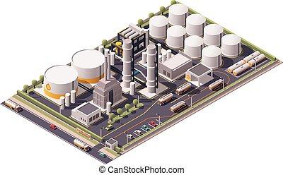 refinería, isométrico, vector, aceite