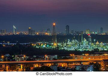 refinería,  panorama, aceite, fábrica, vista