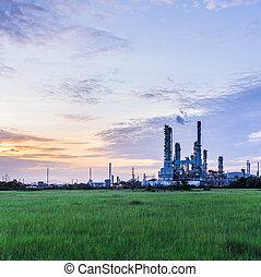 refinería, planta, aceite, crepúsculo, mañana