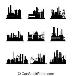 refinería, planta, aceite, procesamiento, iconos