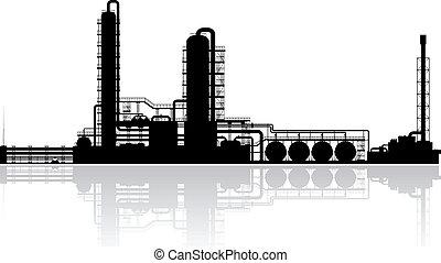 refinería, planta, aceite, silueta